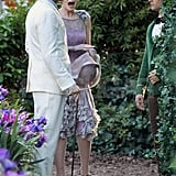 Carey Mulligan looked shocked on set with Leo and Tobey.