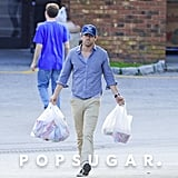 Ryan Reynolds wore a blue cap on a grocery shopping trip with Blake Lively in New York.