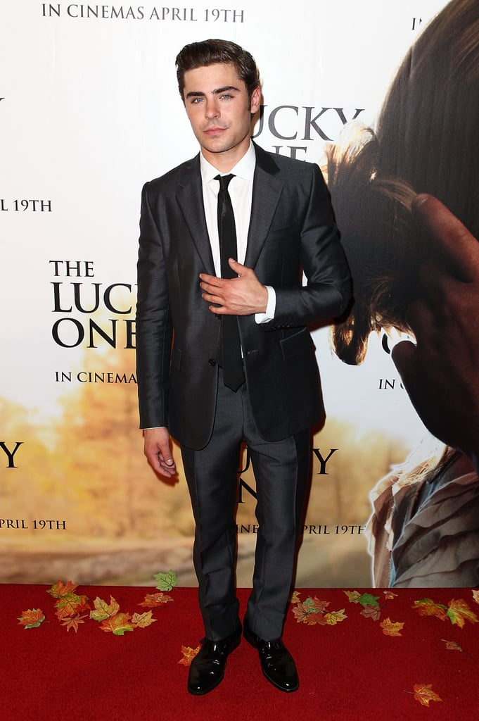 Zac Efron wore a suit to The Lucky One premiere in Melbourne.