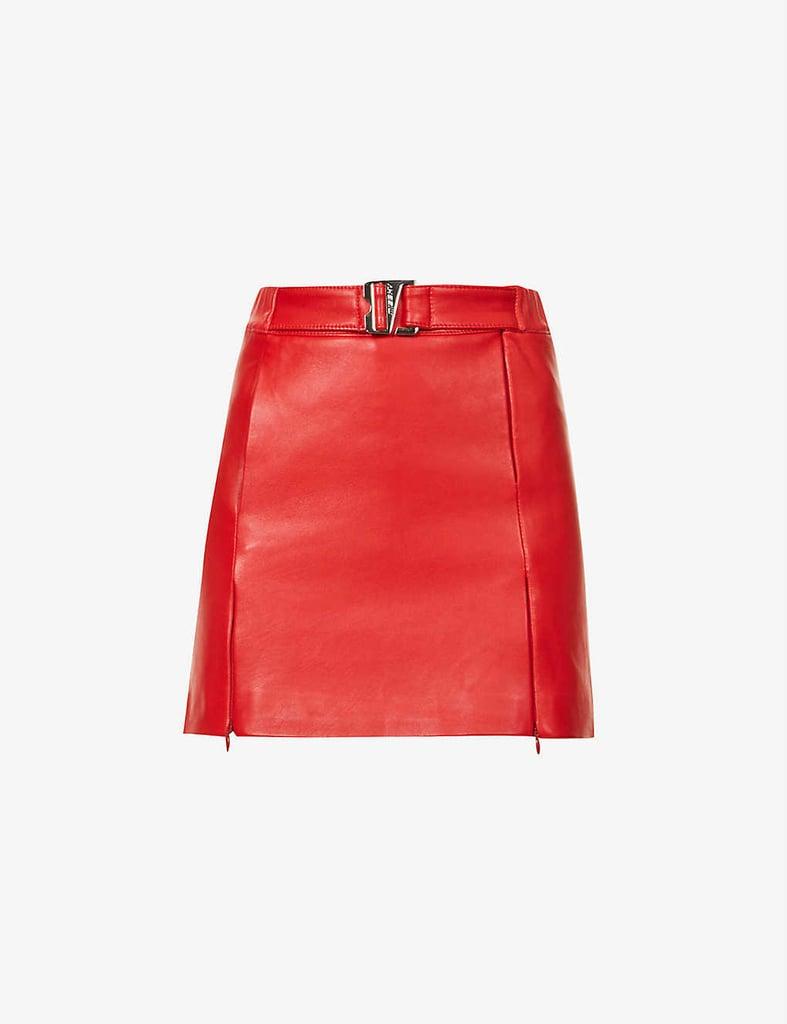 Misbhv Belted High-Waist Vegan Leather Mini Skirt