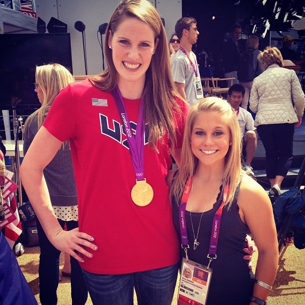 Shawn Johnson and Missy Franklin hugged for a photo. Source: Instagram user shawnjohnson