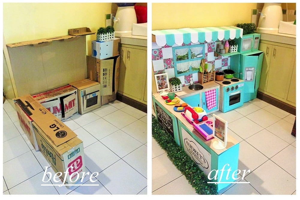 diy cardboard play kitchen for kids popsugar family. Black Bedroom Furniture Sets. Home Design Ideas