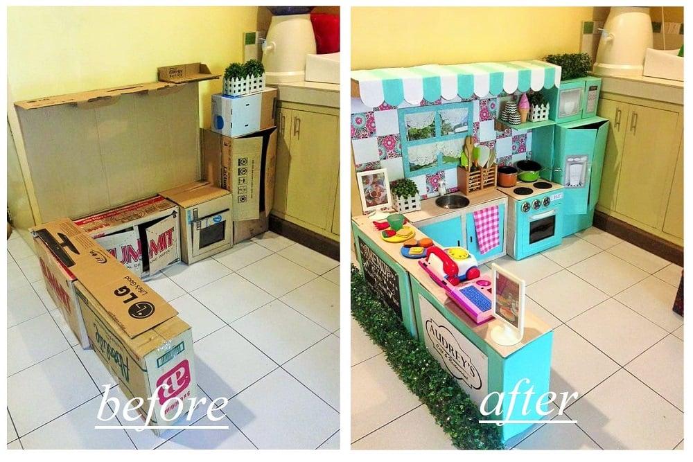 DIY Cardboard Play Kitchen For Kids POPSUGAR Moms