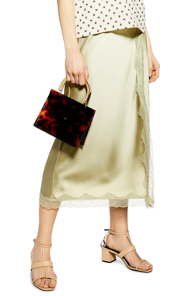 Topshop Lace Trim Satin Midi Skirt