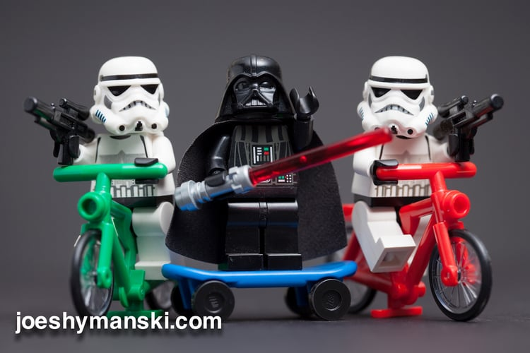 Darth Vader and the gang just casually riding bikes and skateboards.