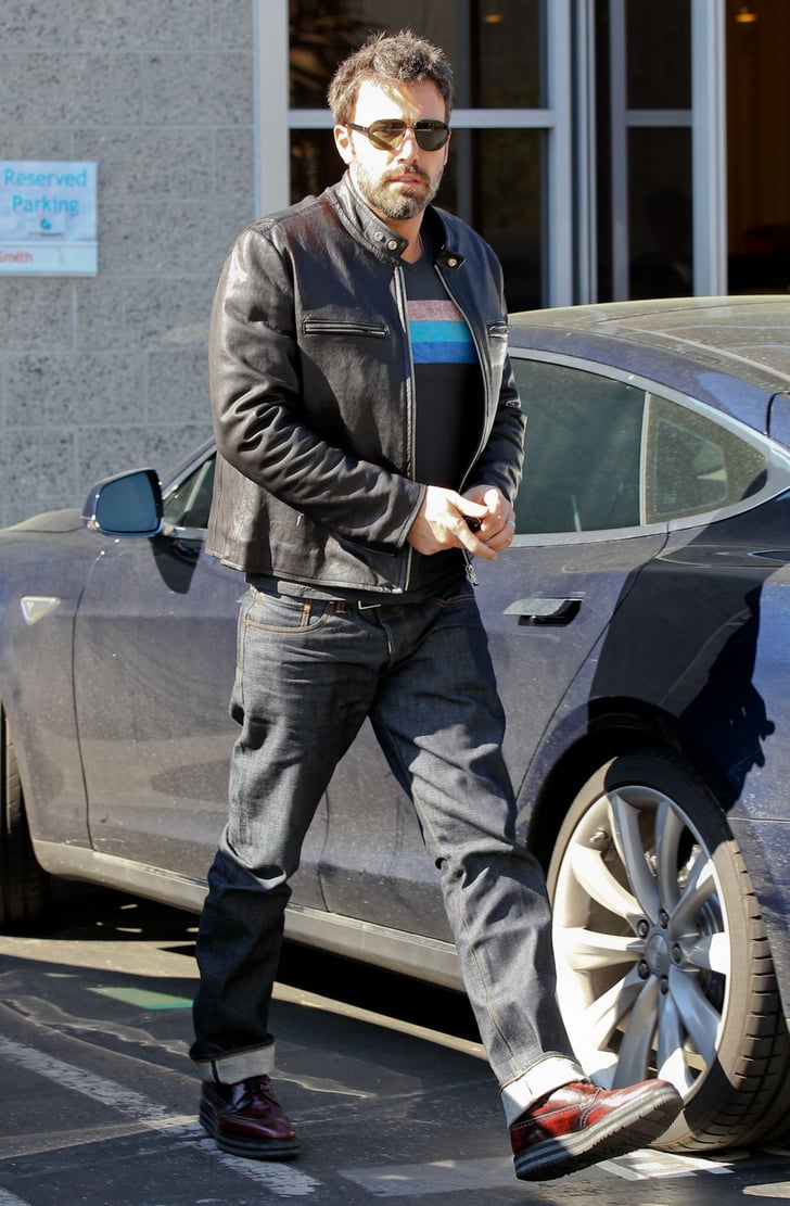 Ben Affleck headed to his car wearing a leather jacket in LA.