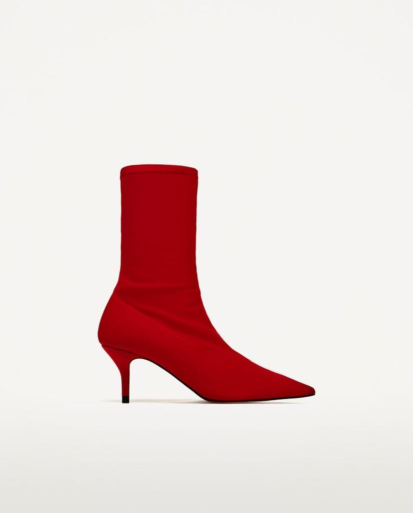 Zara Fabric High Heel Ankle Boots ($70)
