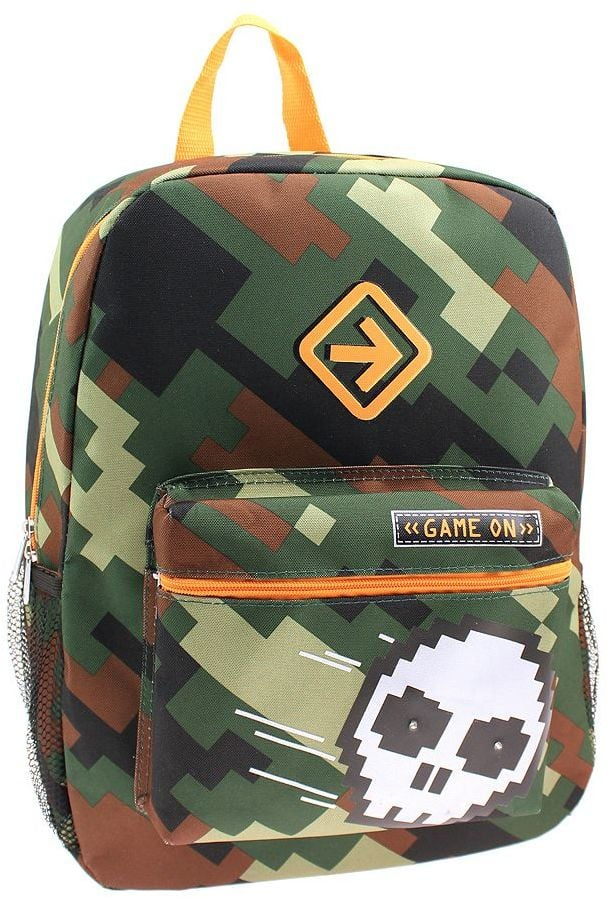 "Pixelated Camo Skull ""Game On"" Backpack"