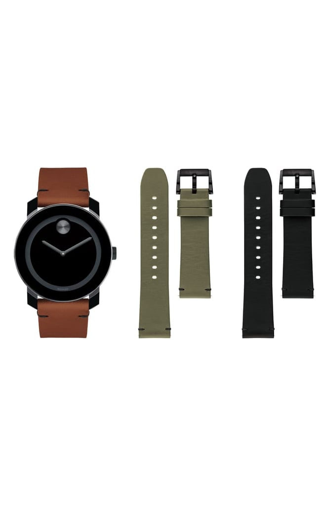 Movado Bold Leather-Strap Watch Set