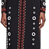 Proenza Schouler Eyelet-Embellished Feather-Trim Dress, Black ($12,500)