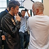 Henry Holland consulted with Adam Reed on the hair backstage at House of Holland Spring 2014.