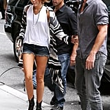 Miley Cyrus and Liam Hemsworth were together on their way into the Late Show in NYC in June 2010.