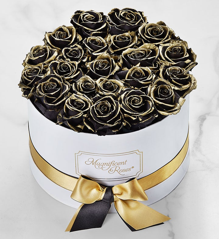 Where to Buy Gold-Kissed Black Roses For Valentine's Day