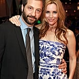 Judd Apatow was accompanied by Leslie Mann to accept the award of excellence in filmmaking at the CinemaCon awards ceremony.