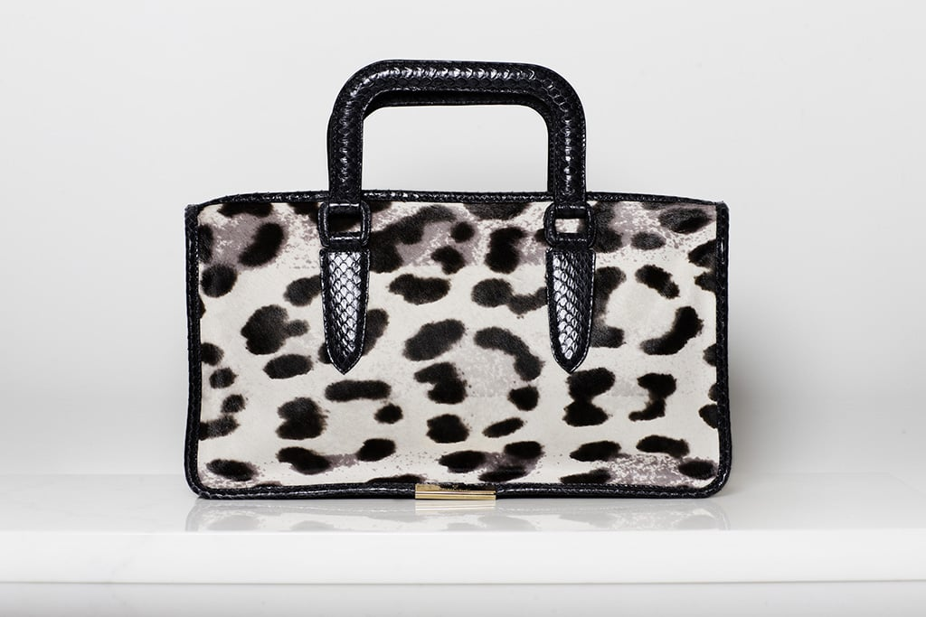 Diglam Pony Satchel in Grey/Cream Leopard ($1,195) Photo courtesy of Tamara Mellon