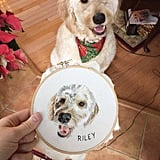 Embroidered Pet Portraits on Etsy