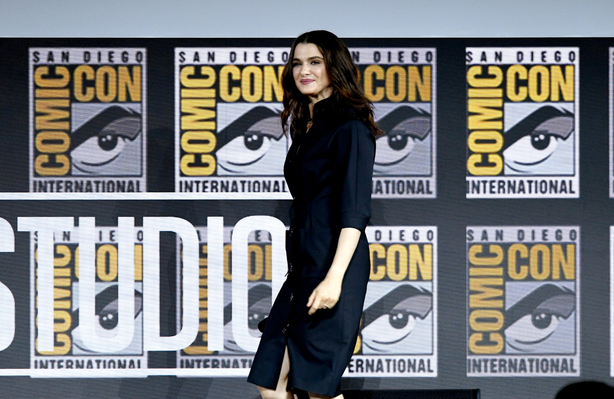 SAN DIEGO, CALIFORNIA - JULY 20: Rachel Weisz speaks at the Marvel Studios Panel during 2019 Comic-Con International at San Diego Convention Center on July 20, 2019 in San Diego, California. (Photo by Kevin Winter/Getty Images)