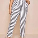 Shein Paperbag Waist Slant Pocket Striped Pants
