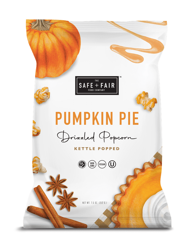 Safe and Fair Pumpkin Pie Drizzled Popcorn