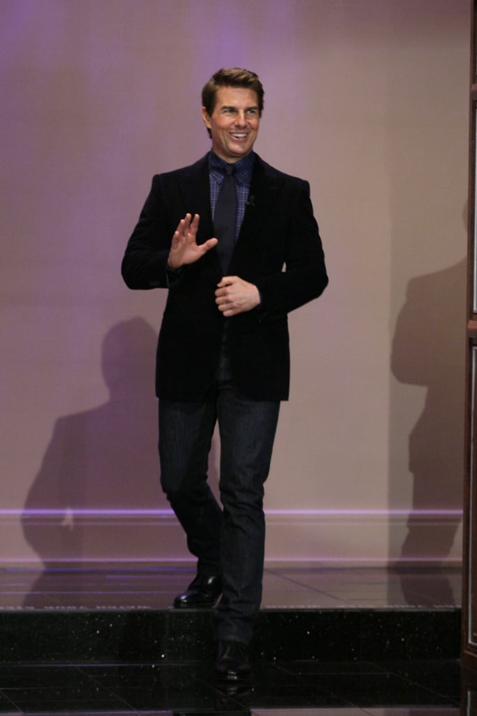 Tom Cruise waved to the audience at The Tonight Show.