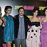 Ashley Benson, Selena Gomez, Vanessa Hudgens and Rachel Korine posed with director and writer Harmony Korine (Rachel's husband) at the Paris premiere of Spring Breakers.