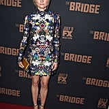 This printed Mary Katrantzou dress really packs a punch! The star wore this dress to the season two premiere of the The Bridge.