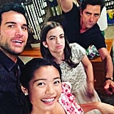 Stamos tries to figure out how to use a selfie stick.