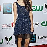 She paired pretty polka dots with metallic peep-toe sandals at The Influence Affair party in April 2012.