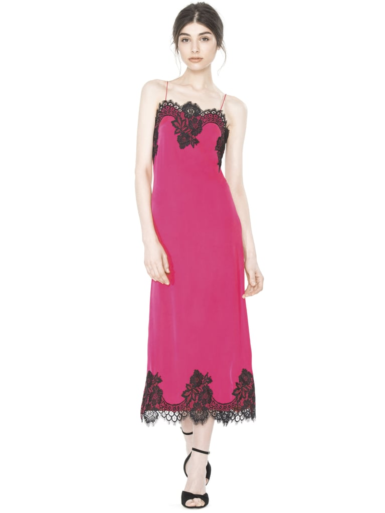 Alice + Olivia Fuchsia Luna Side-Slit Slip Dress