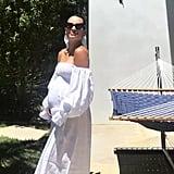 Lea Michele Wearing the White Atlanta Linen Sleeper Dress
