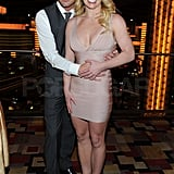 Jason and Britney posed for photo together during his birthday party.