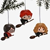 Harry Potter, Ron, and Hermione Flying Ornament Set