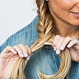Place the hair over the braid, and combine with the left side.