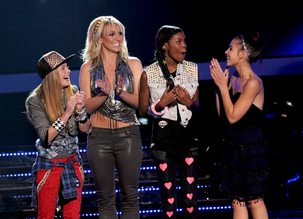 Britney Spears appeared on stage with her four finalists.