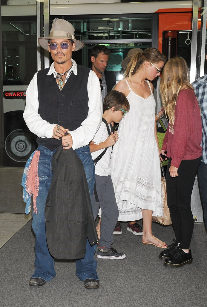 Johnny Depp and Amber Heard Jet Out of Tokyo With His Kids
