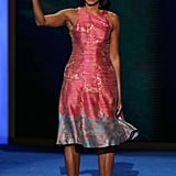 Wearing Tracy Reese dress and J.Crew pumps at the DNC in September 2012.