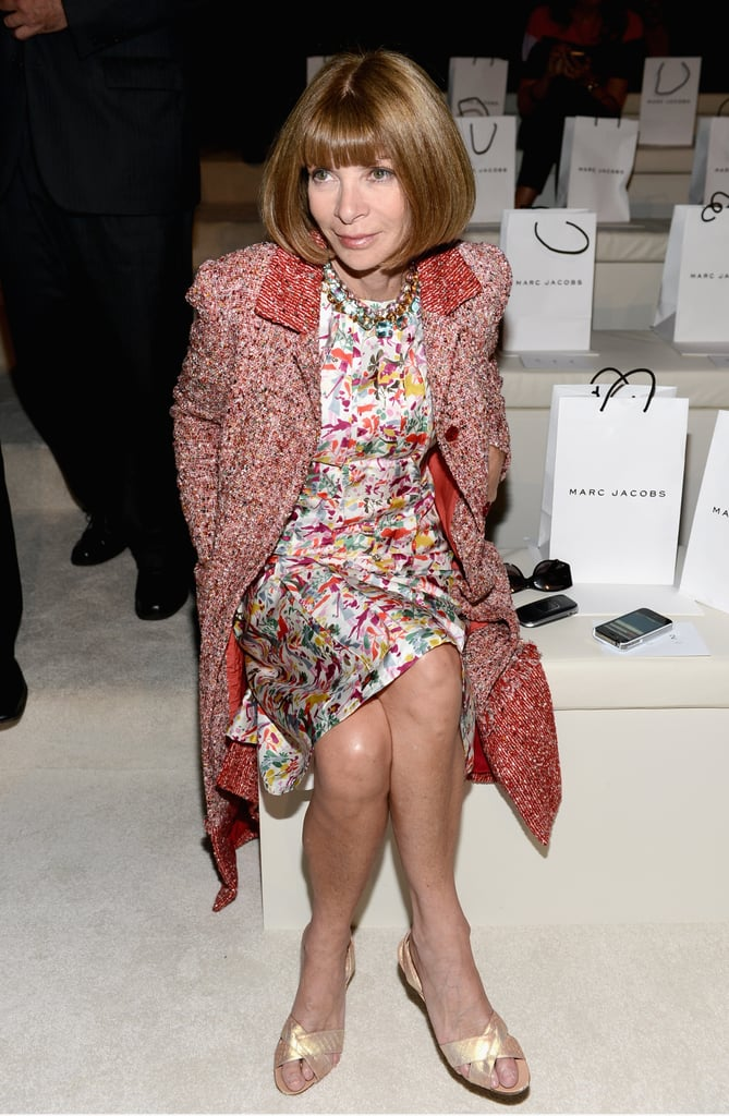 Anna Wintour wore a sophisticated take on mixed prints to Marc Jacobs.