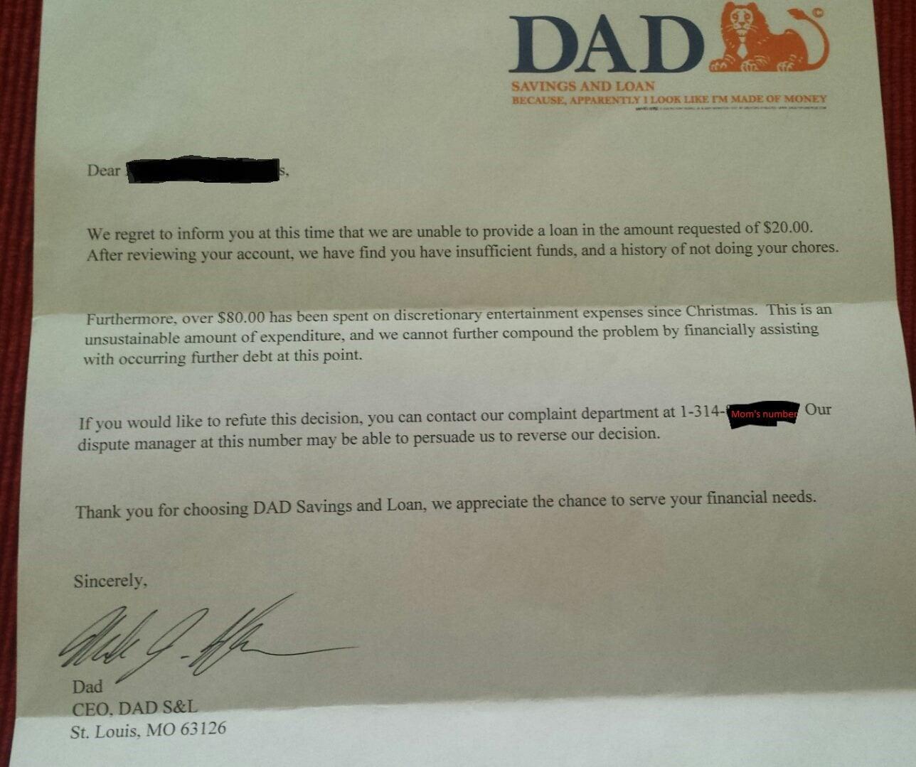 dad sends official bank letter to son who asked for money popsugar moms
