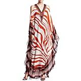 Roberto Cavalli Cold-Shoulder Zebra Print Caftan