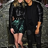 Kate oozed rock-chic glamour in a black leather top and an iridescent emerald tulip-shaped skirt, both by Balmain, while cozying up to friend Prabal Gurung at the Moda Operandi punk collection preview in NYC in May 2013.