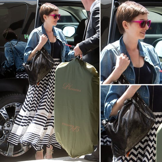 Anne Hathaway Wears The Jewelry To The Next Level: Anne Hathaway Wearing A Striped Maxi Skirt
