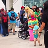And ONLY at Comic-Con will you see a Lady Rainicorn mom and a BMO baby on a leash.
