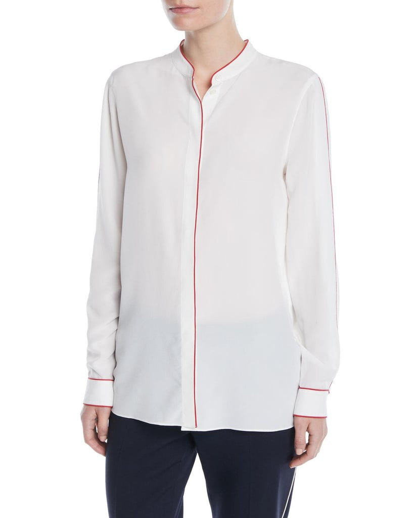 Escada Button-Front Long-Sleeve Silk Blouse With Contrast Piping