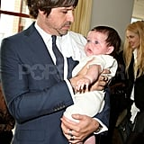 Roger Berman held onto Skyler during Rachel Zoe's presentation.