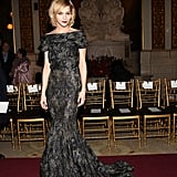 Leigh Lezark stunned in a floor-length Zac Posen gown at the designer's Fall '13 show at The Plaza Hotel.