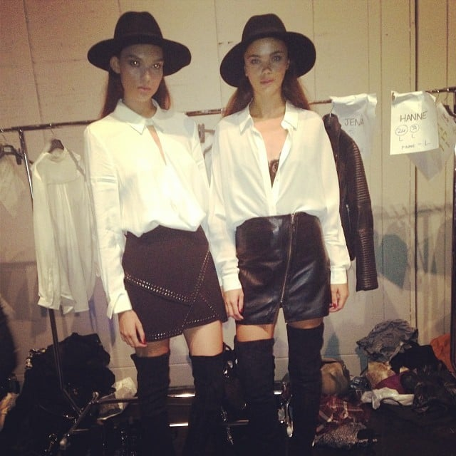 Black, white and sexy all over! The models backstage at the Witchery Autumn Winter 2014 runway show had us lusting after thigh-high boots in a big way.