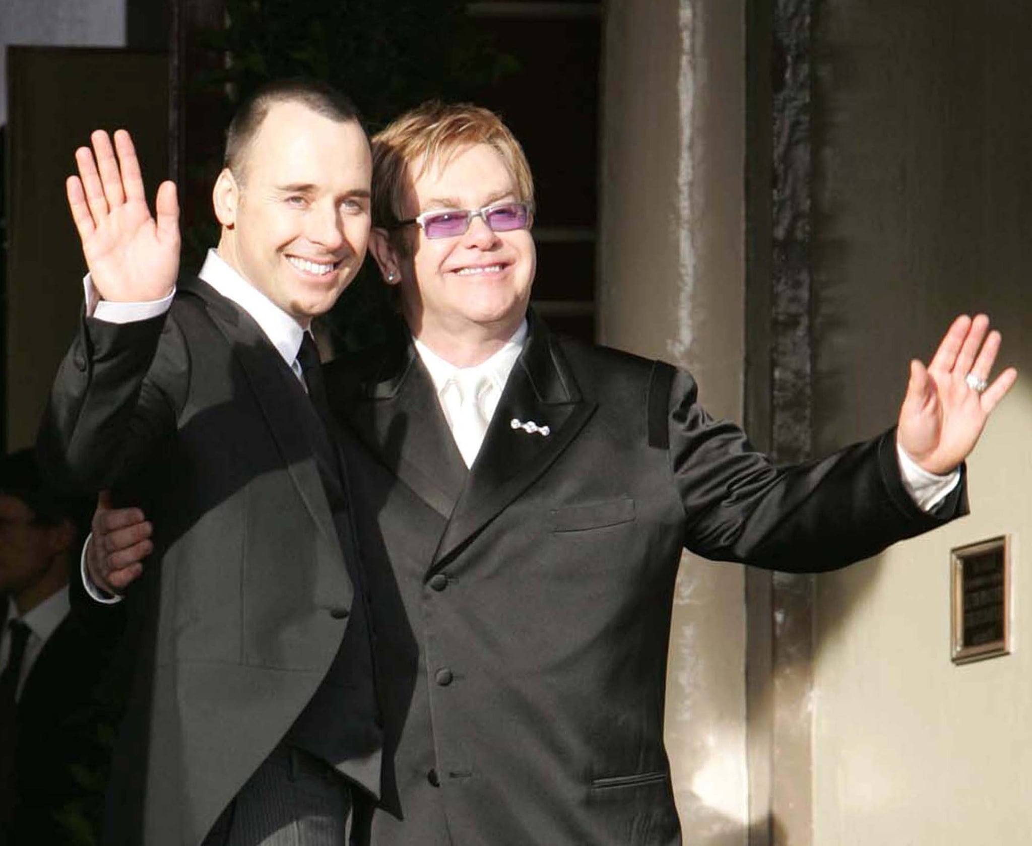 David Furnish and Sir Elton John during Sir Elton John and David Furnish's Civil Partnership Ceremony at Guildhall in Windsor, Great Britain. (Photo by Goffredo di Crollalanza/FilmMagic)