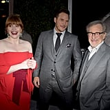 Pictured: Bryce Dallas Howard, Chris Pratt, and Steven Spielberg