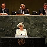 Queen Elizabeth II addresses the United Nations General Assembly in 2010.