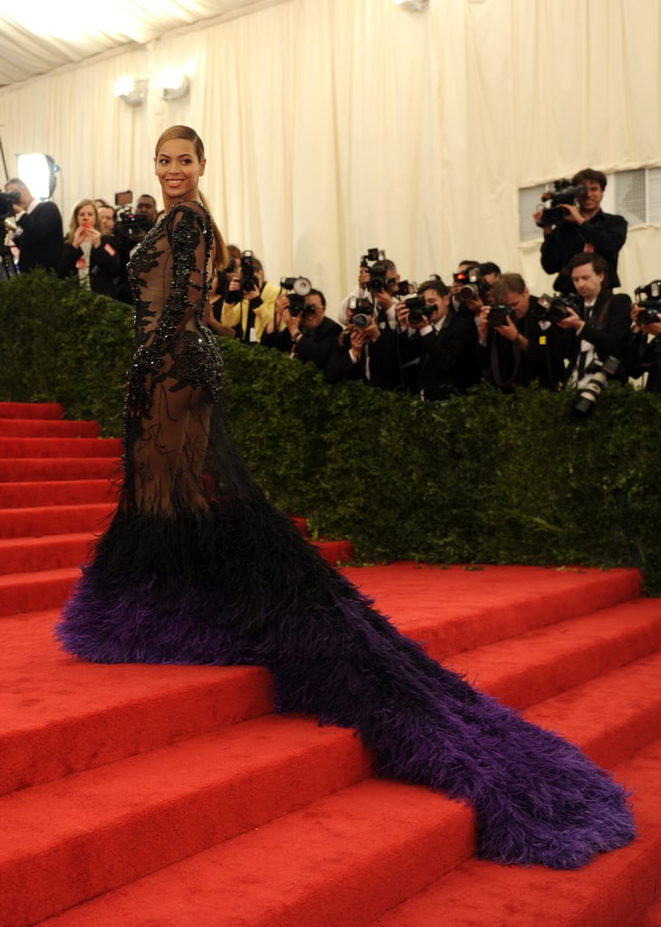 Beyoncé looked gorgeous showing off the train of the dress. We're just glad she could make it up the steps this year!